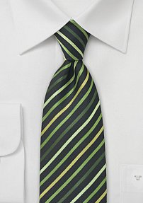 Narrow Striped Tie in Green Black