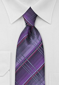 Checkered Tie in Purple and Gray