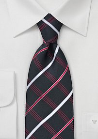 Trendy Black Tie Silver Red Checks