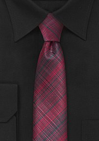 Red and Black Skinny Necktie