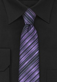 Narrow Tie in Purple and Black