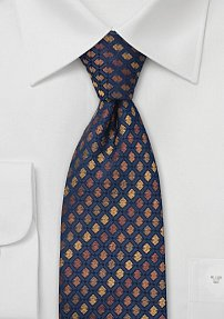 Designer Tie in Blue and Bronze