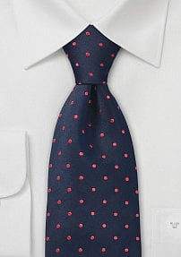 Navy and Red Polka Dot Necktie