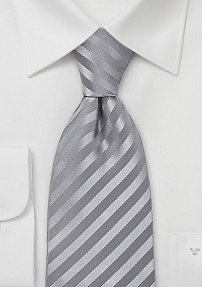 Elegant Silver-Gray Extra Long Tie in Pure Silk