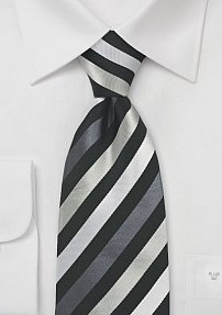 Festive Black and Silver Silk Tie
