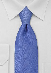 Solid Bright Blue Ribbed Textured Tie in XL