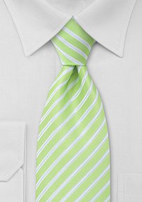 Mens Tie in Lime Green, White