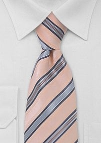 Light Peach Blue Striped Tie