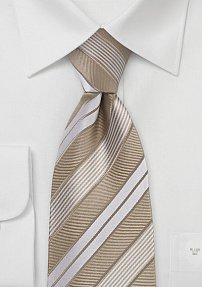 Striped Tie in Caramel and Tan