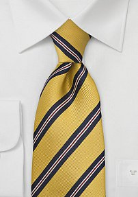 Yellow and Navy Regimental Tie in Boys Size