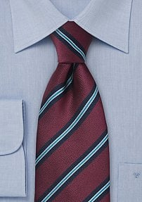 Extra Long Repp-Stripe Tie in Burgundy and Aqua