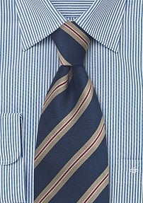 Dark Navy and Tan Regimental Tie