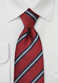 Crimson Red British Striped Tie