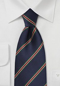 British Striped Tie in Dark Navy