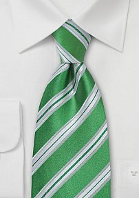 Grass-Green and White Striped Tie