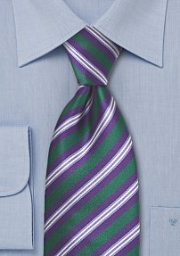 Mens Tie in Green and Purple
