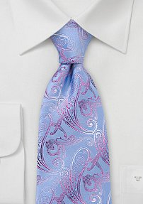 Blue and Pink Paisley Tie