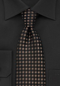 Tan and Black Check Print Tie