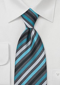 Fine Silk Tie in Turquoise and Gray