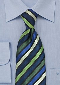 Green Tie with Stripes in Navy