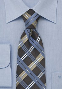 Blue Silk Tie with Checkered Design