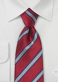 Striped Designer Tie in Cardinal Red
