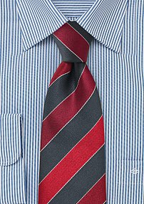 Gray and Cherry Striped Tie