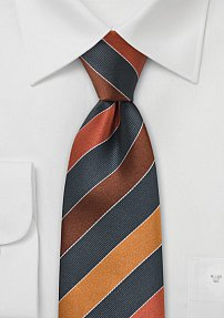 Mens Tie in Gray, Tan, Copper