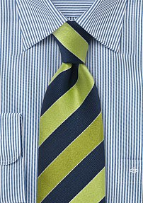 Mens Tie in Pear Green and Navy