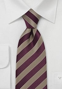 Burgundy and Gold Striped Tie