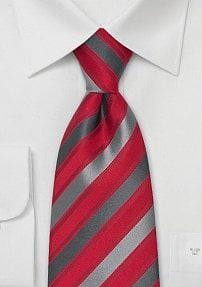 Red, Gray, Silver Striped Silk Tie