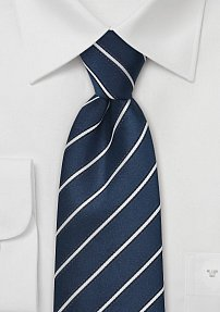 Striped Silk Tie in Navy and Silver