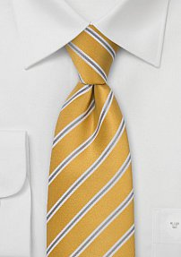 Golden Yellow and Gray Silk Tie