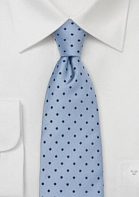 Light Blue Mens Tie with Polka Dots