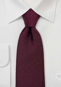 Mens Polka Dot Tie in Dark Burgundy