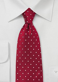 Red & White Kids tie with Polka Dots