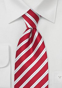 XXL Length Silk Tie in Bold Red and Silver