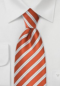 Bright Orange Striped Tie