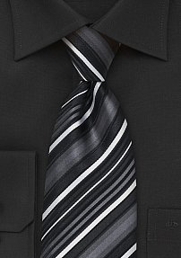 Modern Striped Tie in Greys