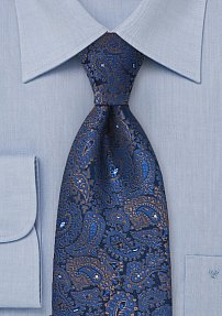 Handmade Kids Silk Tie with Blue Woven Paisley