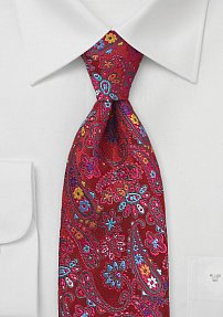 Modern Paisley Patterned Tie in Red