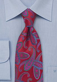 Saturated Red Paisley Tie