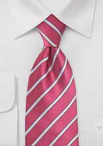 Striped Tie in Vivid Pink and Silver
