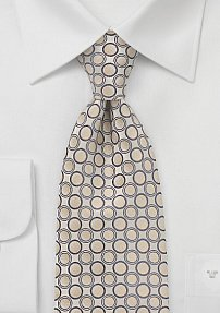 Geometric Patterned Tie in Champagnes and Tans