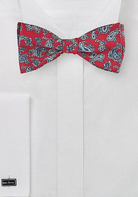 Self Tied Red Bow Tie with Silver Paisley