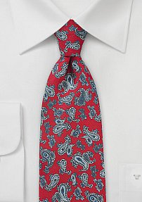 Classic Red Tie with Silver Paisley Print