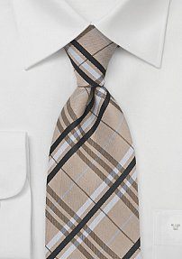 Modern Plaid Tie in Golden Wheat