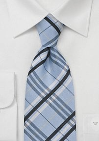 Modern Pool Blue Plaid Tie