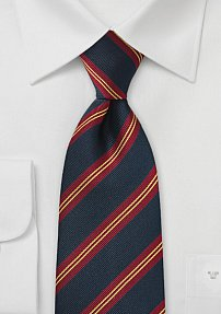 Repp Striped Kids Tie in Navy, Red, and Gold