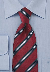 Schoolboy Tie in Red and Navy